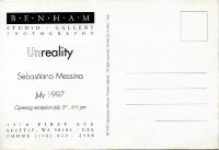 1997 Seattle U.S.A. - Unreality - Benham Gallery - Cartolina invito - retro